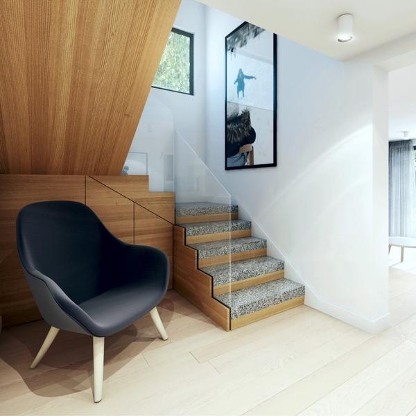 Schody i fotel - wnętrze domu w Poznaniu
