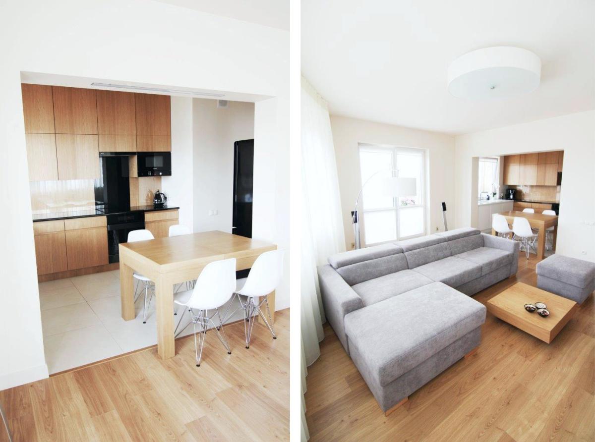 Mieszkanie beżowe - kuchnia i salon