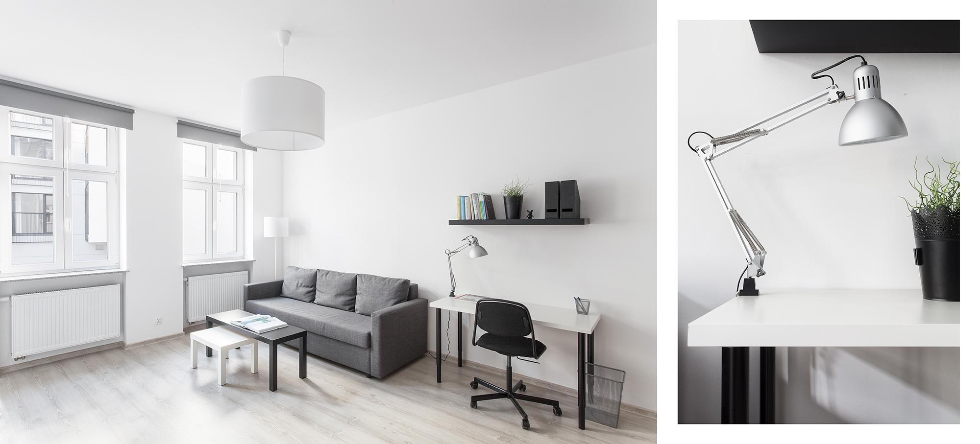 Mieszkanie błękitne - salon i biurko