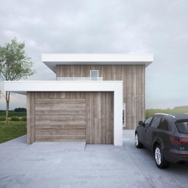 kwadrat dom drewniany